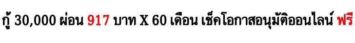 กู้ 30,000 ผ่อน 917 บาท x 60 เดือน เช็คโอกาสอนุมัติออนไลน์ ฟรี
